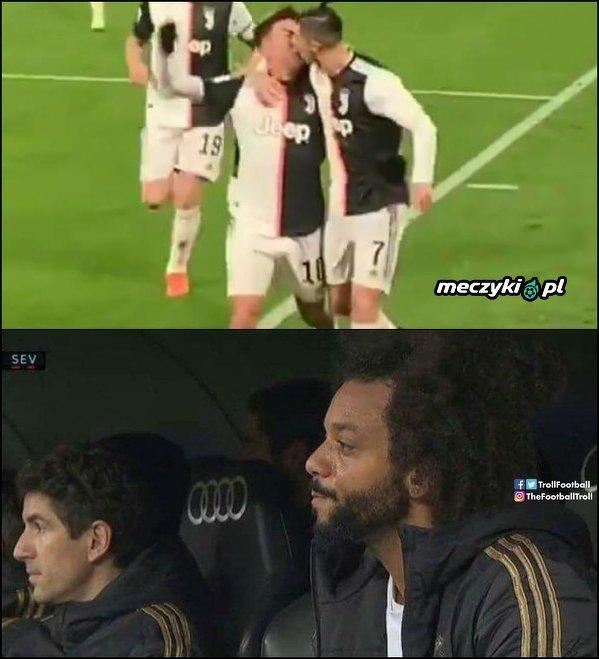 Reakcja Marcelo na cieszynkę Ronaldo i Dybali