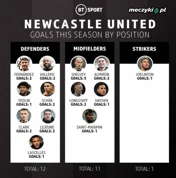 W Newcastle United przydałby się bramkostrzelny napastnik