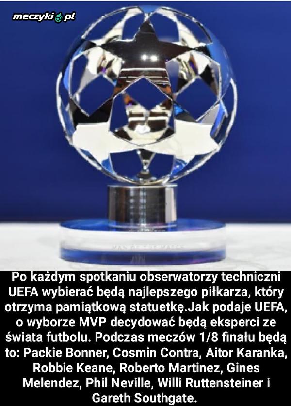 UEFA wprowadza od fazy pucharowej Ligi Mistrzów nagrodę piłkarza meczu