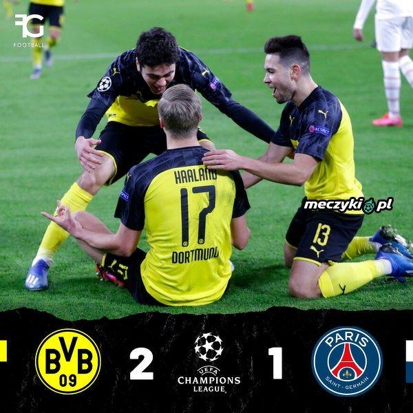 Borussia Dortmund wygrywa z PSG po dwóch bramkach Haalanda