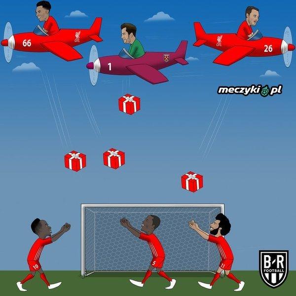 Liverpool otrzymał prezenty od West Ham