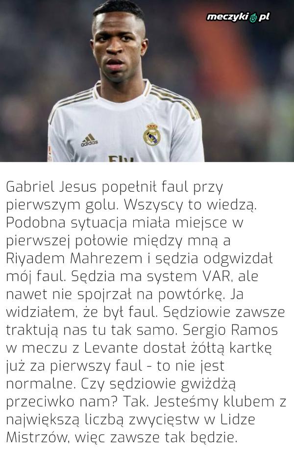 Vinicius narzeka na sędziego meczu Real-Manchester City