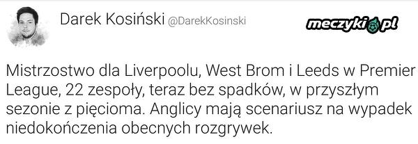 W Premier League mają już przygotowany scenariusz