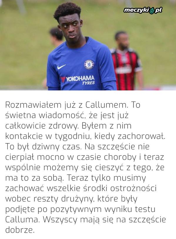 Frank Lampard o stanie zdrowia Calluma Hudsona-Odoi
