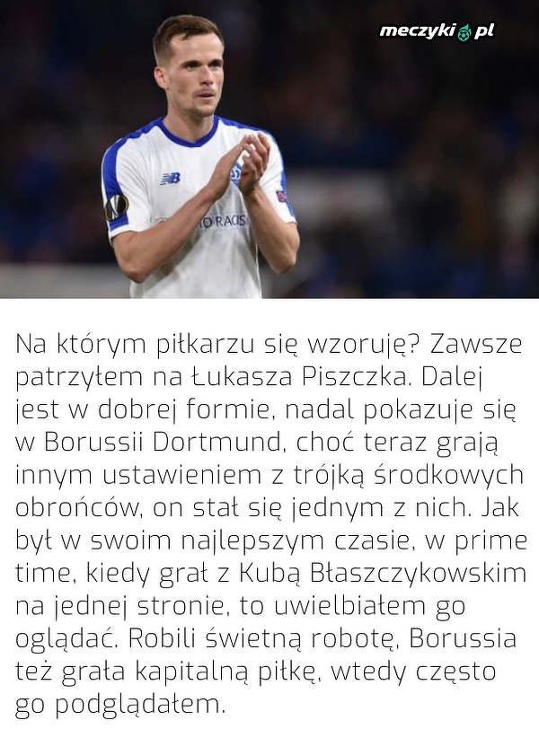 Tomasz Kędziora wskazał piłkarza, na którym się wzoruje