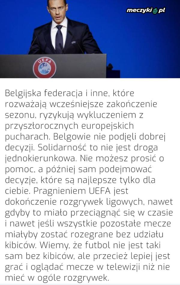 Prezes UEFA grozi Belgii wykluczeniem z europejskich pucharów