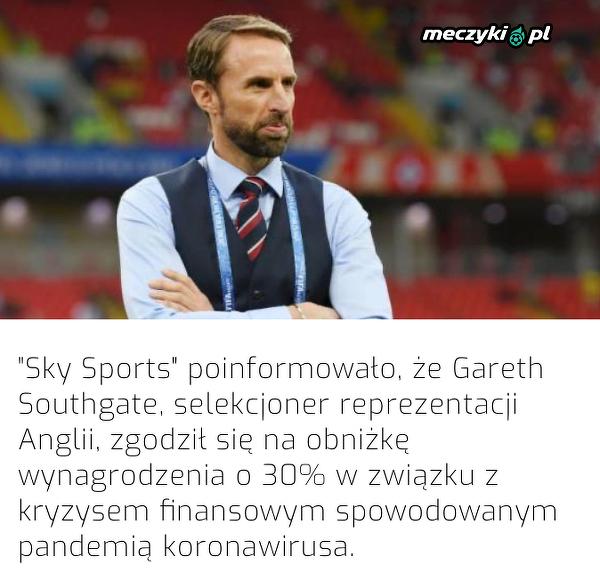 Gareth Southgate będzie zarabiać mniej