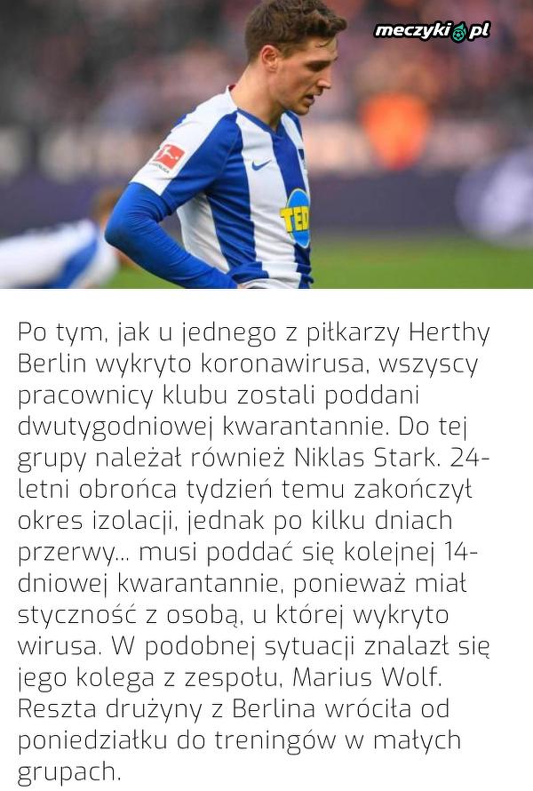 Dwóch piłkarzy Herthy musi ponownie przejść kwarantannę