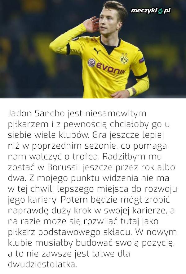Marco Reus doradza Jadonowi Sancho pozostanie w BVB