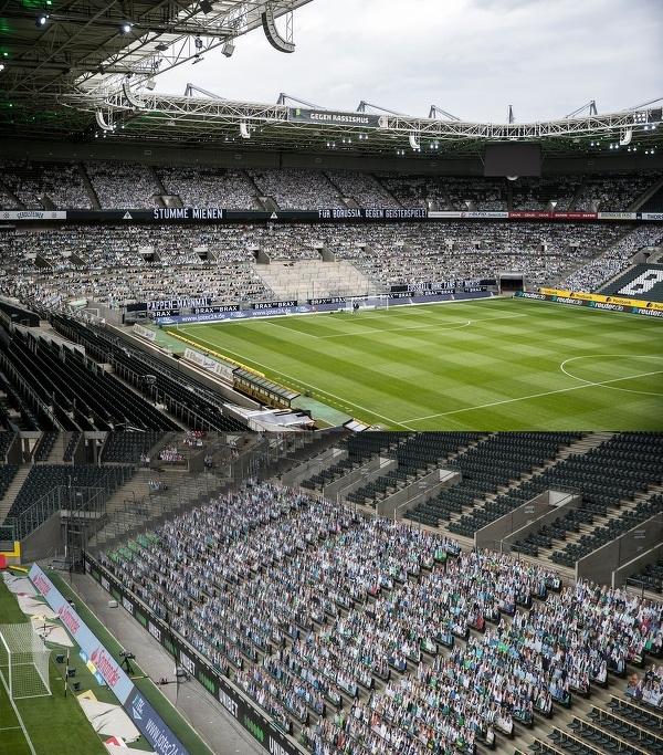 13 tysięcy tekturowych wizerunków kibiców na meczu Borussia Moenchengladbach - Bayer Leverkusen