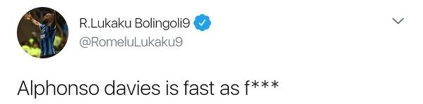 Romelu Lukaku pod wrażeniem szybkości Alphonso Daviesa