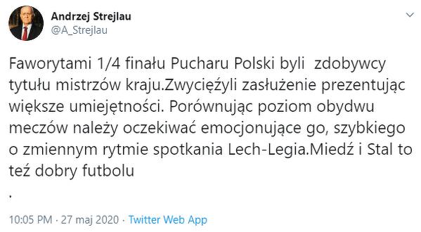 Strejlau podsumował mecze Pucharu Polski
