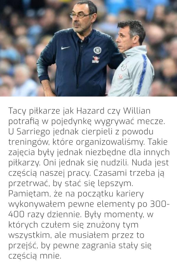 """Zola: """"Treningi Sarriego nudziły gwiazdy Chelsea"""""""