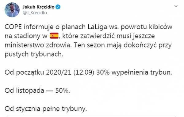 Plan LaLiga ws. powrotu kibiców na stadiony