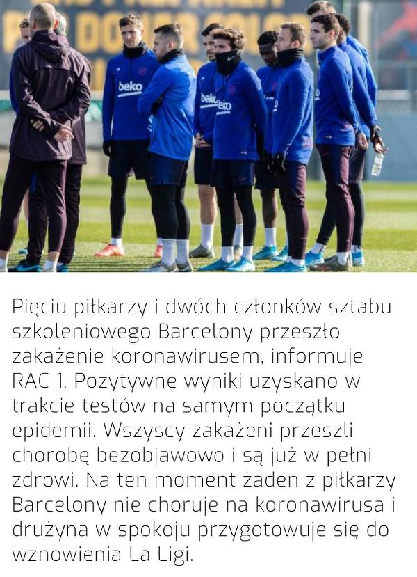 Pięciu piłkarzy Barcelony miało koronawirusa
