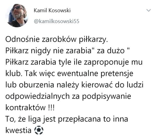 Kamil Kosowski o zarobkach piłkarzy
