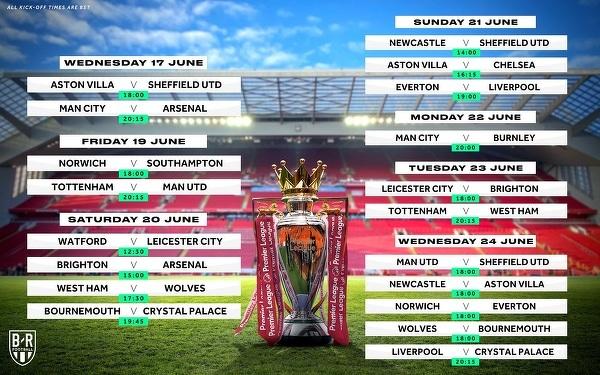 Władze Premier League potwierdziły godziny rozpoczęcia pierwszych meczów po wznowieniu rozgrywek