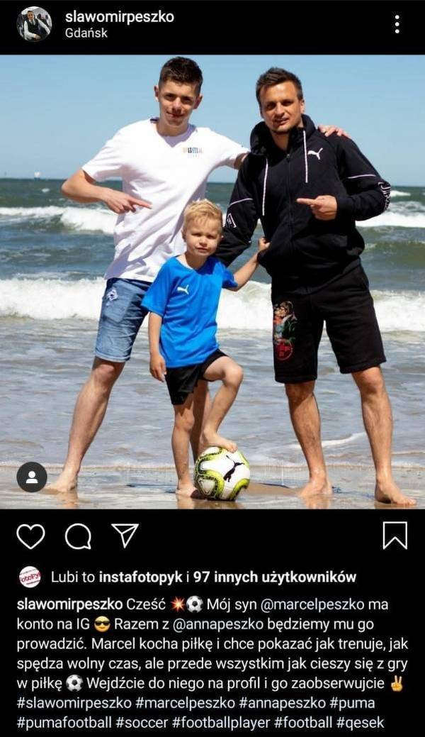Peszko założył 5-letniemu synowi konto na Instagramie