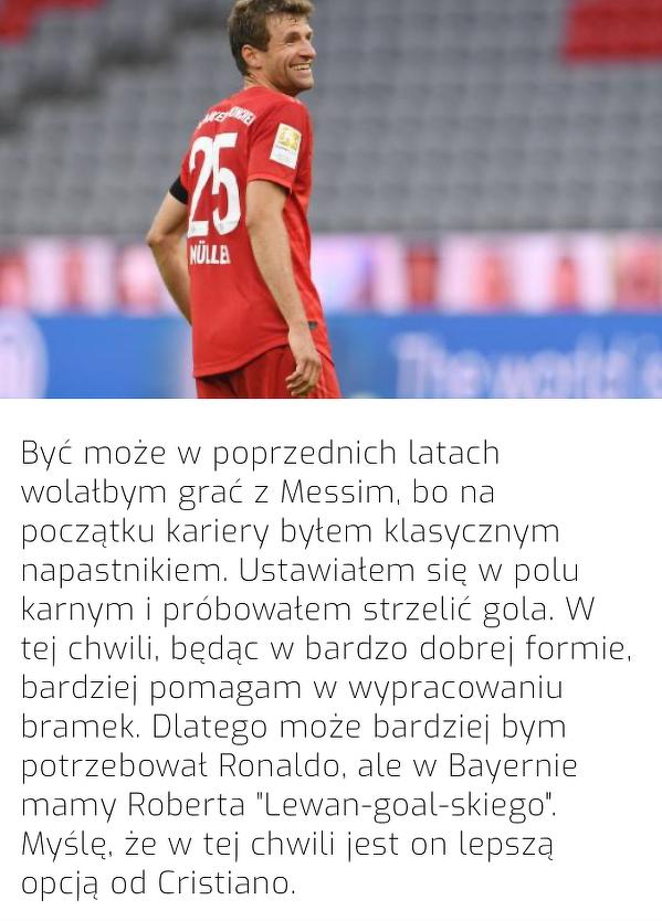 Messi, Ronaldo? Muller woli grać z Lewandowskim