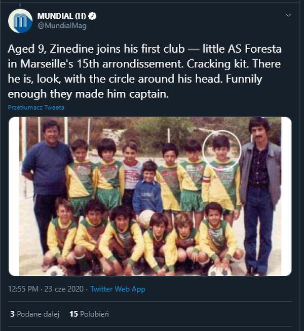 Zidane zaczął w wieku 9 lat