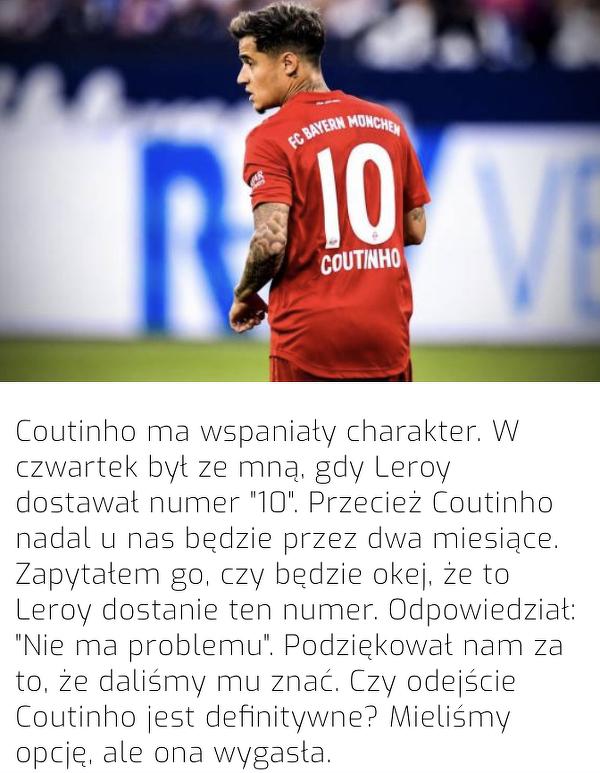 """Rummenigge zdradził, jak Coutinho zareagował ma oddanie """"10"""" Sane"""