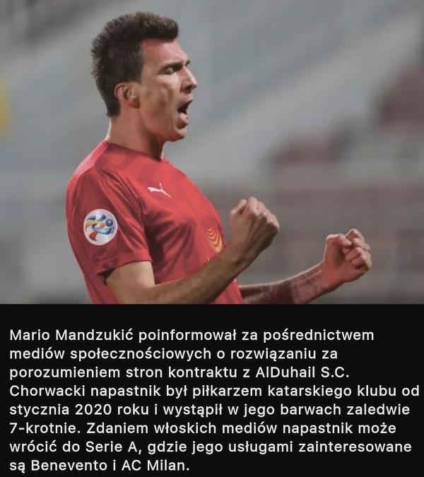 Mario Mandzukic rozwiązał kontrakt z klubem
