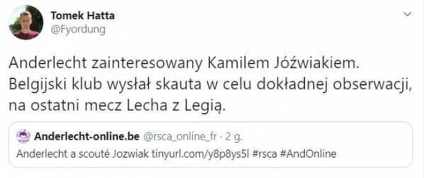 Anderlecht też chce Jóźwiaka
