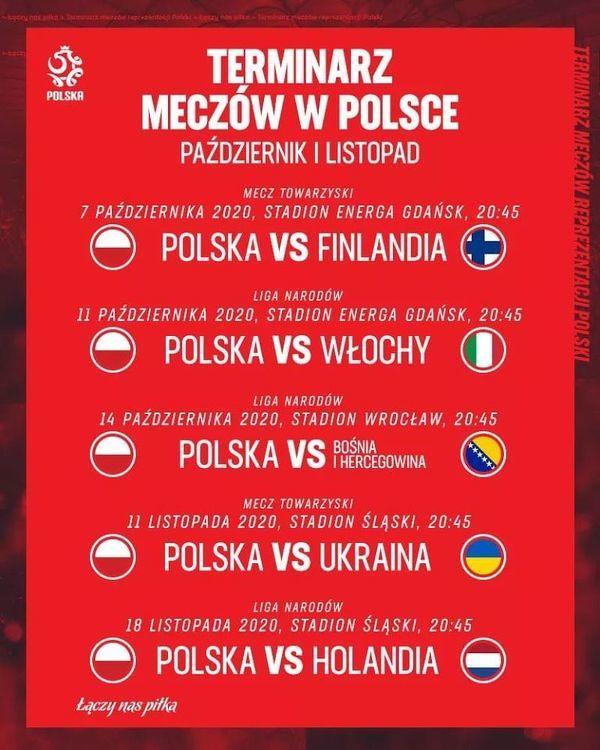 Komplet jesiennych meczów kadry rozgrywanych w Polsce