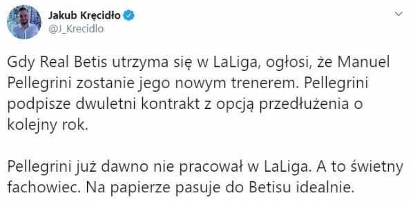 Pellegrini wraca do La Liga