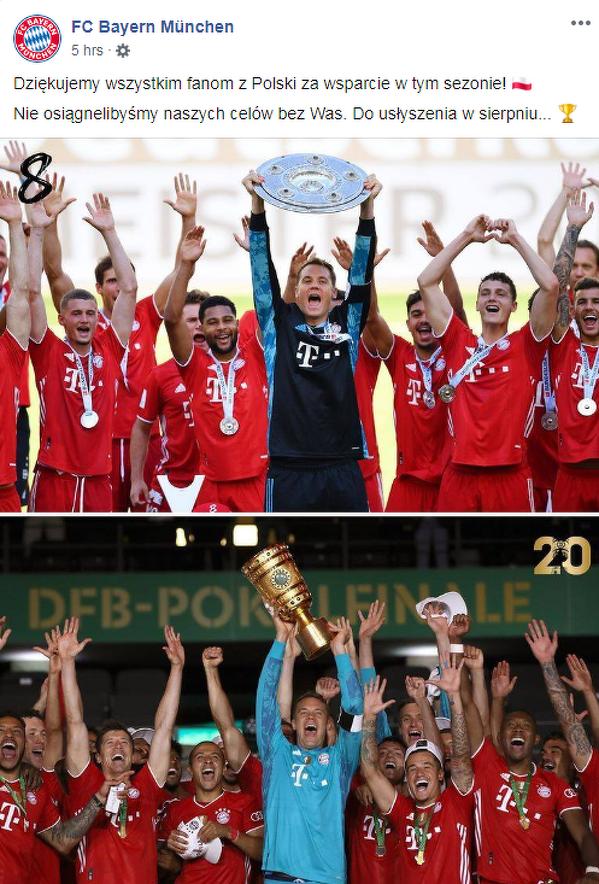 Bayern za pośrednictwem swojego Facebooka, podziękował polskim kibicom za wsparcie w trakcie sezonu 2019/20