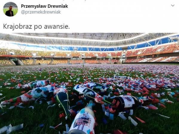 Tak wyglądał stadion Podbeskidzia po świętowaniu awansu