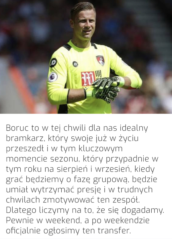 Po weekendzie Legia ogłosi transfer Boruca