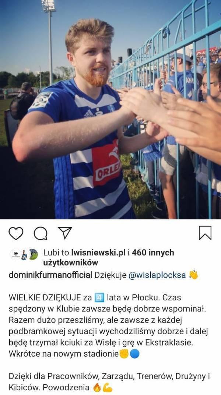 Dominik Furman pożegnał się z Wisłą Płock