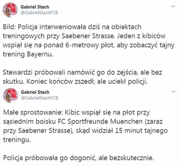 Incydent na treningu Bayernu