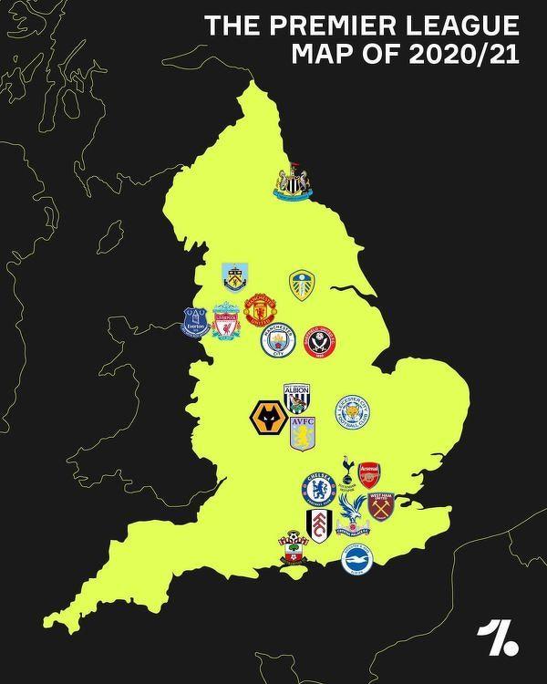 Piłkarska mapa angielskiej Premier League w sezonie 2020/21