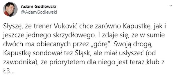 Vukovic chce nie tylko Kapustkę
