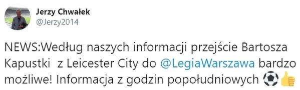 Transfer Bartosza Kapustki do Legii coraz bardziej realny