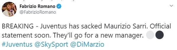 Według doniesień Fabrizio Romano Maurizio Sarri został zwolniony