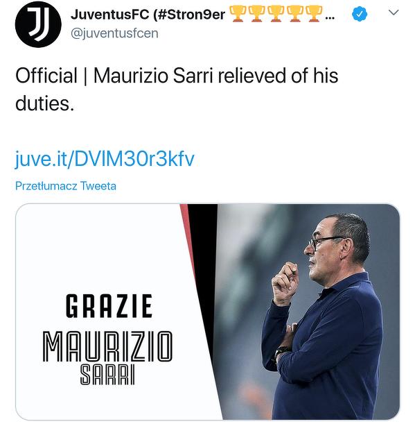 Oficjalnie: Sarri nie jest już trenerem Juventusu