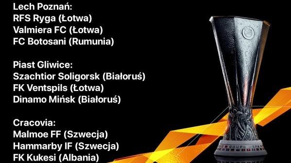 Potencjalni rywale polskich drużyn w 1. rundzie eliminacji Ligi Europy