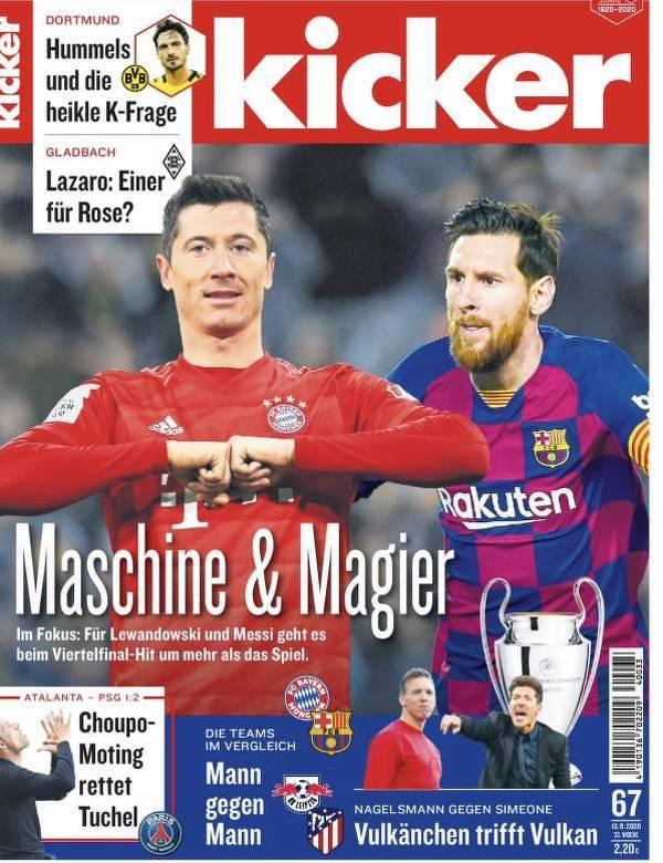 Okładka Kickera przed meczem Bayern - Barcelona