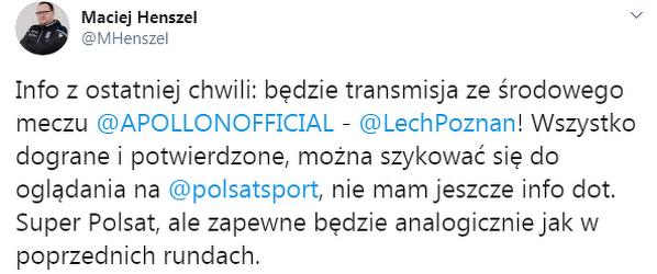 Będzie transmisja z meczu Lecha w Lidze Europy