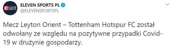 Dzisiejszy mecz Tottenhamu się nie odbędzie