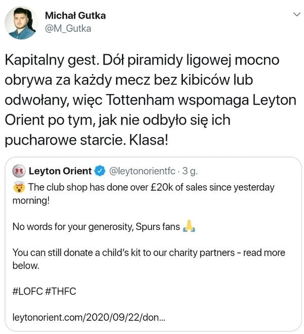 Kibice Tottenhamu wsparli Leyton Orient