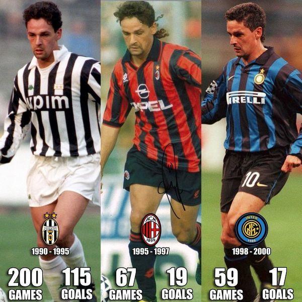 Baggio występował w trzech największych włoskich klubach