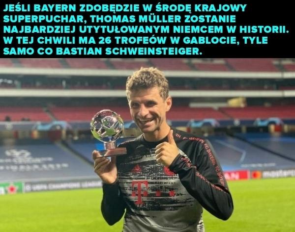 Muller już niedługo może zostać najbardziej utytułowanym niemieckim piłkarzem