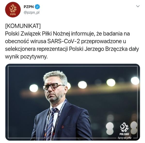 Jerzy Brzęczek z pozytywnym wynikiem na obecność koronowirusa