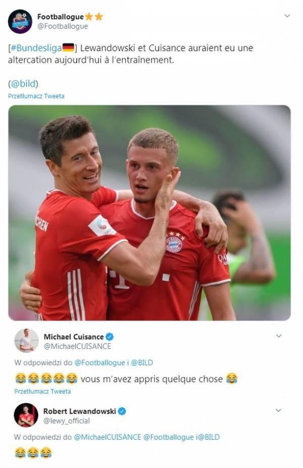 Lewandowski i Cuisance wyśmiali informacje o kłótni na treningu