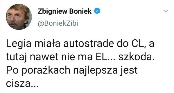 Boniek skomentował porażkę Legii