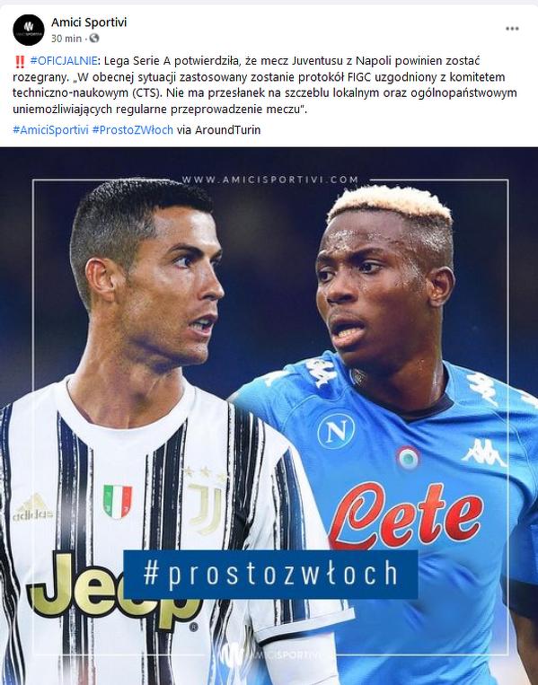 Oficjalne info odnośnie sytuacji meczu Juventus - Napoli